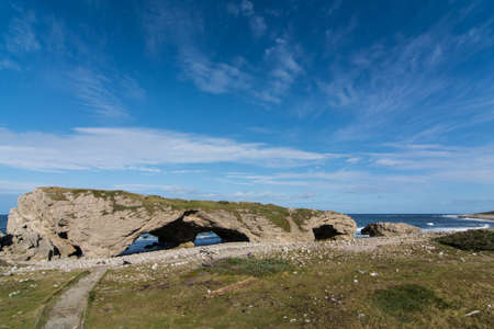 stone arches: The natural stone arches at The Arches Provincial park in Newfoundland and Labrador, Canada