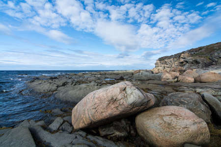 Rocks and seaweed cover the shore of a bay in the province of Newfoundland and Labrador