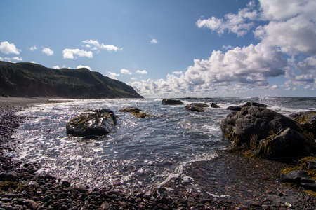 A rocky and rugged coastline in Gros Morne National Park in Newfoundland and Labrador, Canada