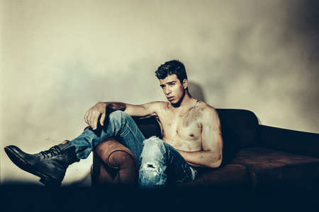 denim jeans: Male model with blue jeans Stock Photo