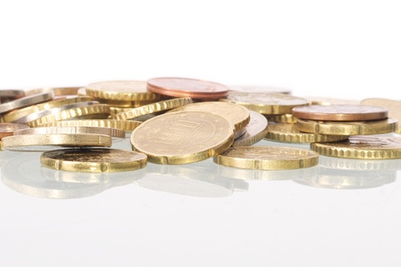 european money: Picture of coins in a pile, white isolated background