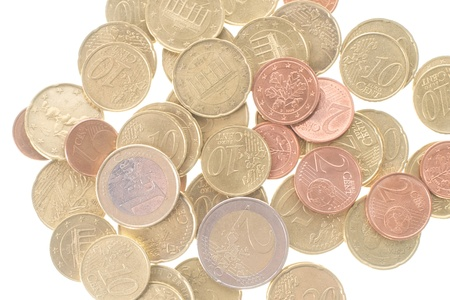 royalty free images: Picture of coins in a pile, white isolated background