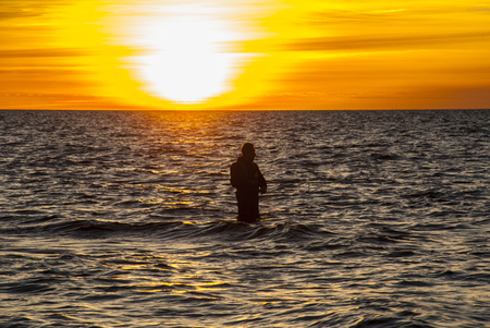 angler: Angler in autumn sunset at coastline, stock picture by Brian Holm Nielsen