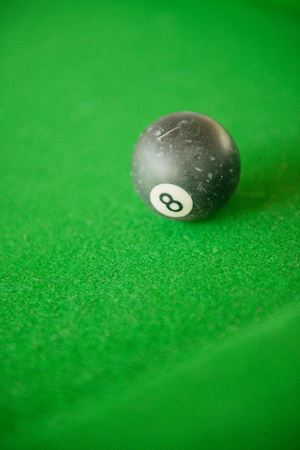 Billard balls on green billard table, stock picture