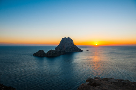 Sunset at Es Vedra and Es Vedranell at Ibiza, stock picture
