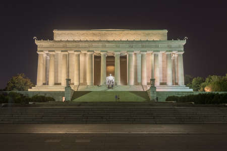 bacon night: Lincoln Memorial on the National Mall in Washington DC at night. Architect Henry Bacon. This photo was taken at night and due to the long exposure you can see some ghosting of people moving around in the frame.
