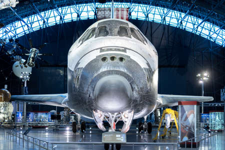 Chantilly, VA - April 4, 2016: Space Shuttle Discovery OV-103 on display in the James S. McDonnell Space Hangar in the Smithsonian National Air and Space Museum (NASM)s annex, Steven F. Udvar-Hazy Center Editorial