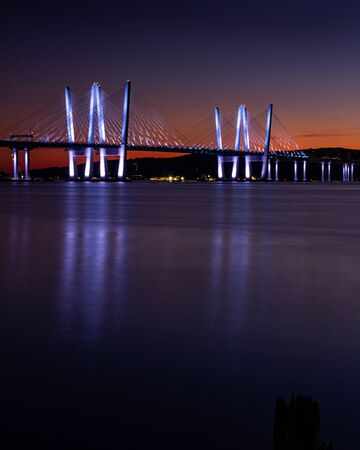 Tarrytown, NY / United States - Sept. 19, 2019: A sunset view of the Tappan Zee Bridge