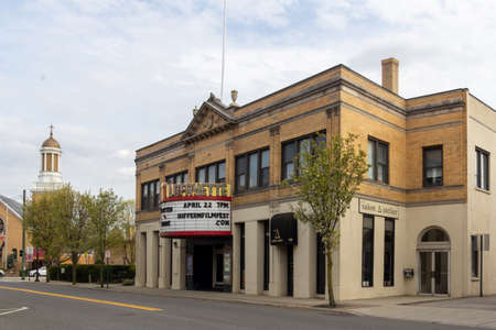 Suffern, NY / United States - April 25, 2020: A three quarter view of The Lafayette Theatre, a nationally acclaimed movie palace located in downtown Suffern