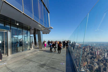 New York, NY / United States - Oct. 14, 2020: a landscape view of tourists enjoying the views of Manhattan from