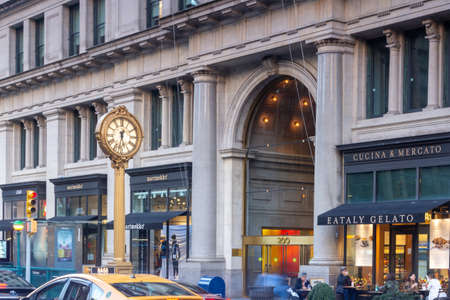 New York, NY / USA - Oct. 14, 2020:  A view of the Fifth Avenue Building Clock and Building across from Madison Square Park in Chelsea neighborhood of Manhattan. Banco de Imagens - 157553667