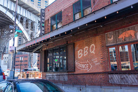 New York, NY / USA - Feb.15, 2015: A view of the famous Dinosaur Bar-B-Que restaurant in  a restaurant, blues venue, and biker bar.