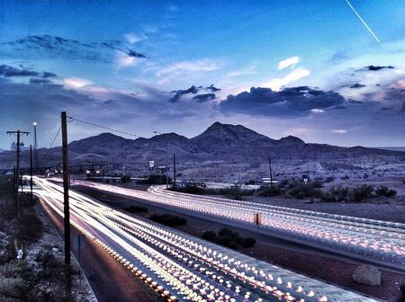 Light trails in El Paso