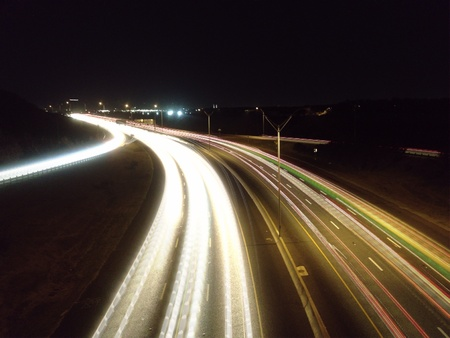 Light trails in the highway of San Antonio