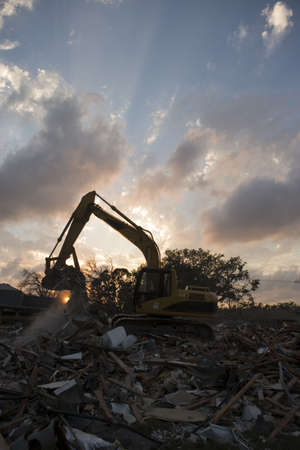 A flood damaged home in the Lakeview section of New Orleans is demolished Stock Photo