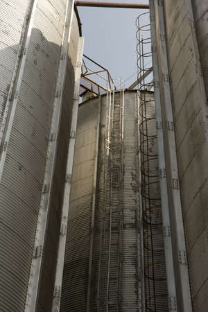 Several large metal grain towers in Marion, South Carolina. Stock Photo