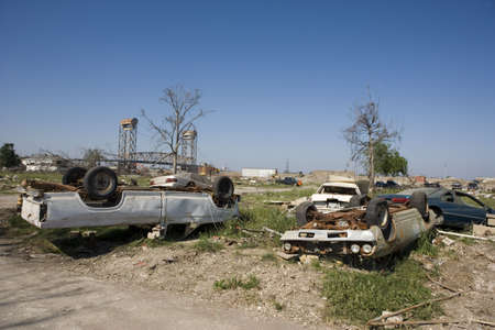 blighted: Heavily damaged homes in the Ninth Ward of New Orleans. One block behind these homes is the industrial canal that collapsed during the storm surge of hurricane Katrina.