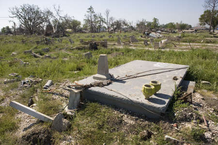 fled: In New Orleans after hurricane Katrina past the storm surge broke the levies protecting the city. This slab of concrete sits a few blocks from where the levy broke. All that is left of what was formerly the front porch of a  home in the Ninth Ward is a co