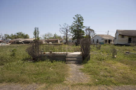 After the flooding following hurricane Katrina, concrete steps leading to an empty lot are all that remain of what was once someones home in the Ninth Ward of New Orleans.