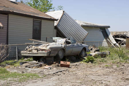 Heavily damaged homes in the Ninth Ward of New Orleans. One block behind these homes is the industrial canal that collapsed during the storm surge of hurricane Katrina.