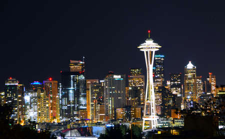 Shot from famous Kerry Park at night, the Space Needle dominates the Seattle skyline.