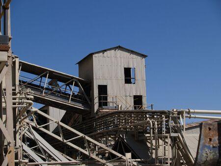 conveyors: Old corrugated iron mine shed