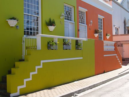 Suburban Cape town pastel coloured homes Stock Photo