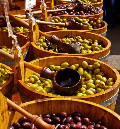 Olives in barrells.
