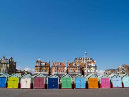 Beach huts with brightly coloured doors.