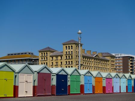 Beach huts of HoveBrighton. Stock Photo