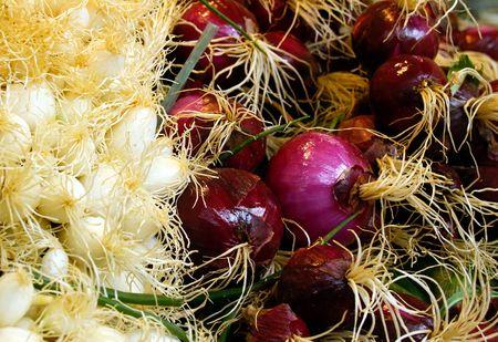 Fresh onions on a farmers market stall. photo