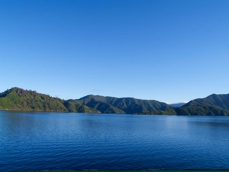 Marlborough Sounds New Zealand on a clear day.
