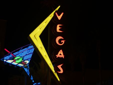 Las Vegas, Nevada, USA,  August 15 2008, large neon sign in Fremont district.