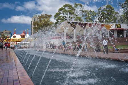 water feature: Sydney, Australia, January,19 2011, water feature, fountian at Darling Harbour with Moscow Circus marquee in background.