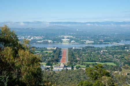 Anzac Parade in centre of view from Mount Ainslie, Australia.