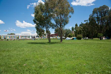 aborigine: CANBERRA, AUSTRALIA,- JANUARY 24, 2011. Site of the long running Aborigine Tent Embassy, Canberra, Australia.