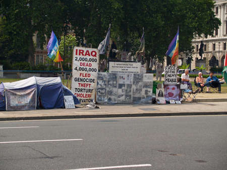 protestors: London, England, July 3,2009. Protestors paraphernalia on a London street, protesting matters in Iraq.