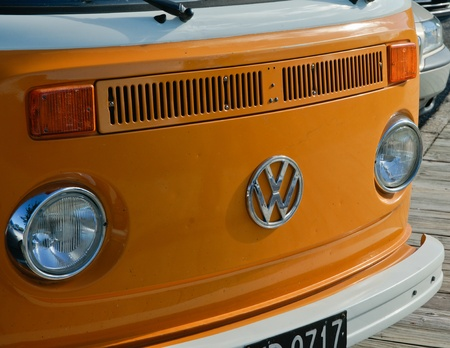 Tauranga, New Zealand - May 2, 2010, front of Volkswagen Kombi, a popular vehicle in the 60s and 70s, popular again now as a retro wagon, proudly displaying the iconic VW logo.