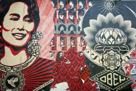 Wynward, Florida, USA, June 28, 2012-Aung san suu kyi, Burmese freedom fighter and politician on wall of building