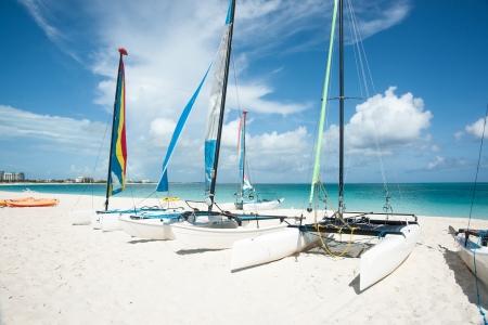 Catarmarans on tropical beach