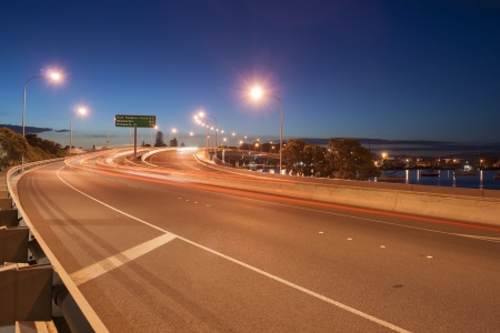 Night light of Tauranga Harbor Bridge