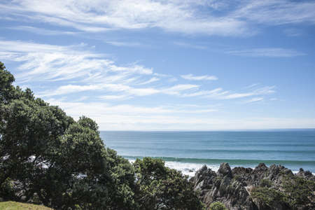 Ocean view from base of Mount Maunganui, New Zealand  photo