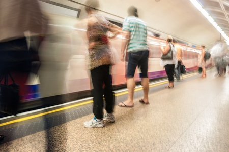 frenetic: Tube station motion blur showing the frenetic environment that a station is