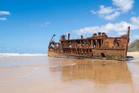 rusting: Rusting hulk of the Maheno, Fraser Island, Australia Stock Photo