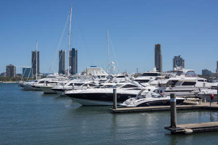 Marina at Surfers Paradise on Australia s Gold Coast, with commercial skyline of neighbouring Southport in background