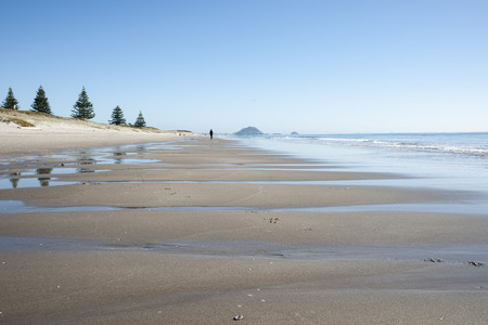 Scenic beach scene to Mount Maunganui in the distance