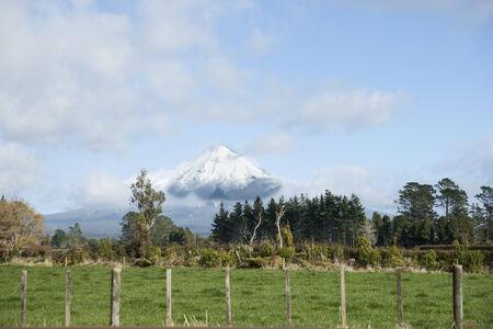 egmont: Taranaki landscape, farmland below the mountain Mount Egmont   Mount Egmont