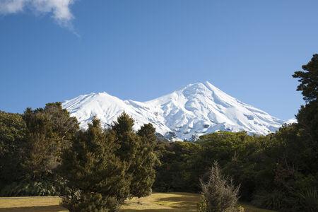 egmont: Mount Egmont behind bush clad slopes and under blue sky