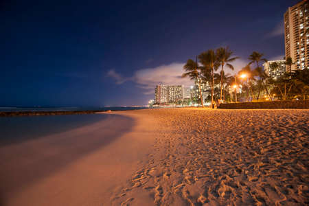 Waikiki Beach at night, Honolulu, Hawaii. Stock Photo