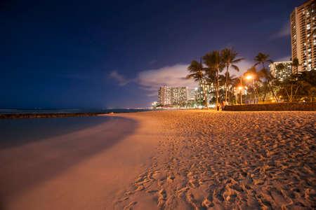 Waikiki Beach at night, Honolulu, Hawaii. photo